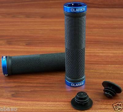 MOUNTAIN BIKE MTB LOCKING LOCK-ON BAR GRIPS BLACK/BLUE