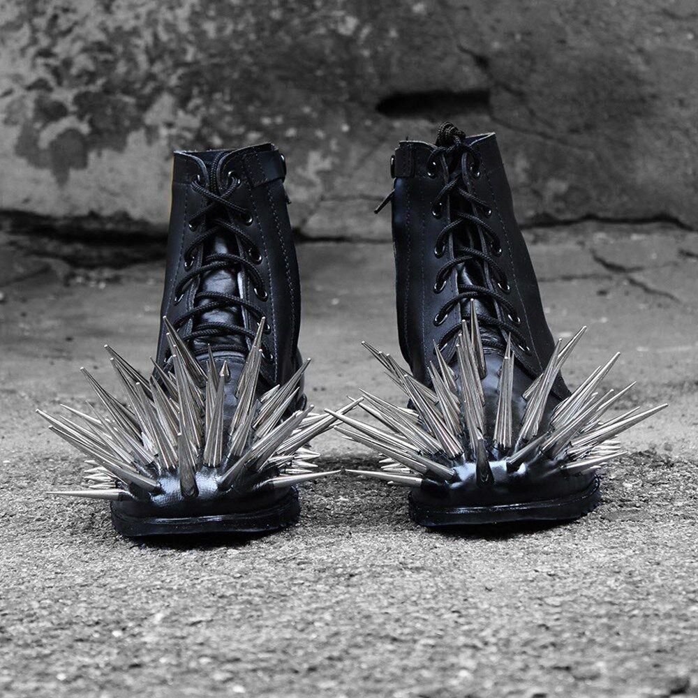 ByTheR hombres Gótico Metal Personalizado De Moda botas Con Cordones Cuero Negro Con Tachuelas au