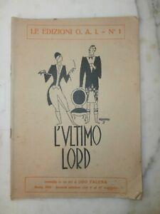 Rarissimo Libro Ugo Falena L'ultimo Lord 1926 Copertina di Mario Pompei