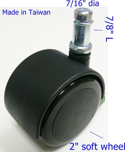"""Oajen 2/"""" 50mm soft wheel chair caster with 7//16/"""" x 7//8/"""" grip ring stem set of 5"""