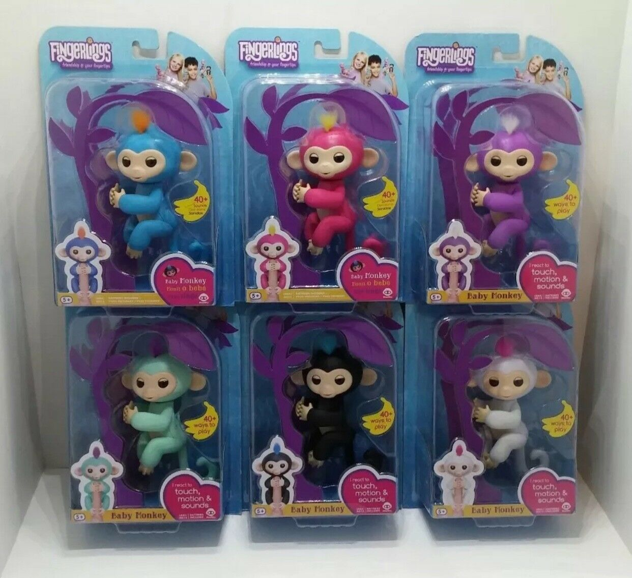 Fingerlings Complete Set of 6 WowWee Authentic Fingerling Monkeys  PRIORITY SHIP