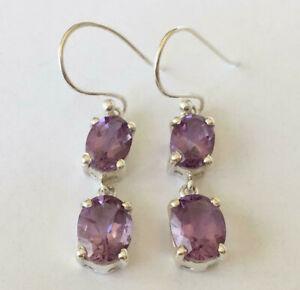 925-Sterling-Silver-Amethyst-Earrings-Multi-2-Gemstones-Oval-Dangle-Earrings