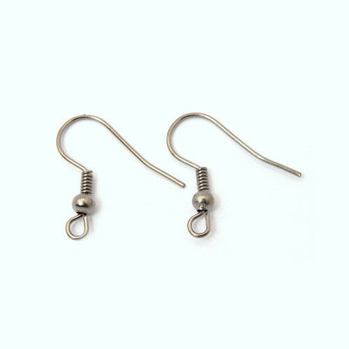 100x Bronze//Platinum Earwires Ball/&Coil Findings 19mm Hypo-allergenic Fish Hooks