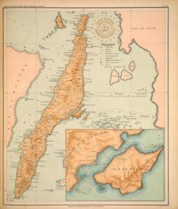PHILIPPINE-ISLANDS-CEBU-MACTAN-1899-Original-Antique-Map