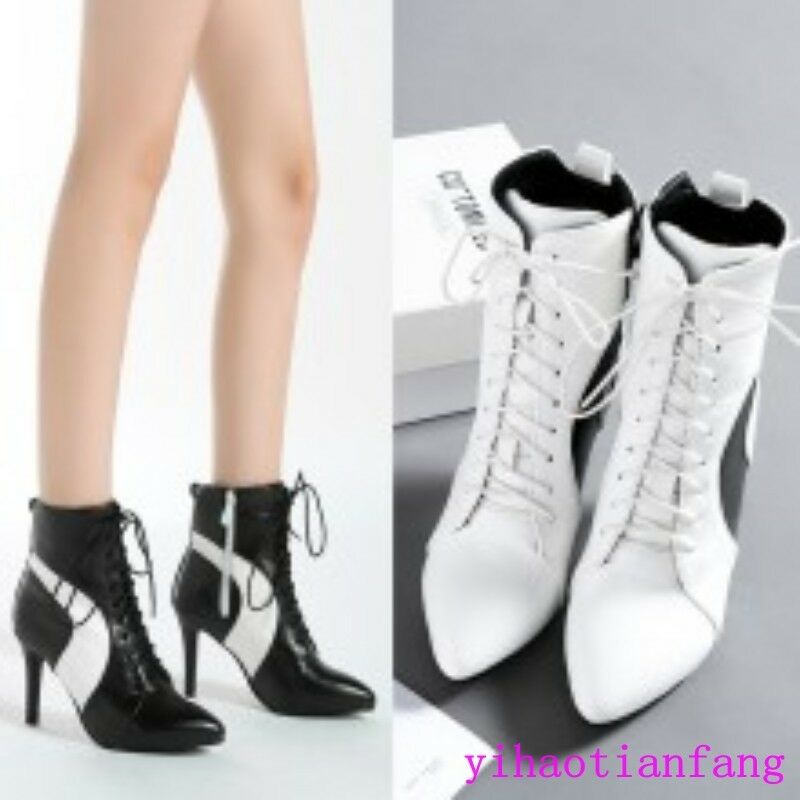 Women Splice Fashion Lace Up Stiletto High Heels Pointy Toe Leather Ankle Boots