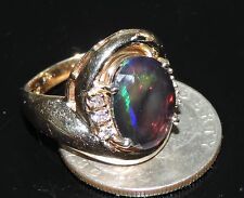 14k Gold Faceted Black Ethiopian Opal Diamond Ring 7.28 Gram TCW 3.64 ct Sz 7.25