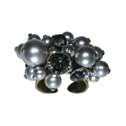 Konplott anillo Pearl shadow gris diamante negro