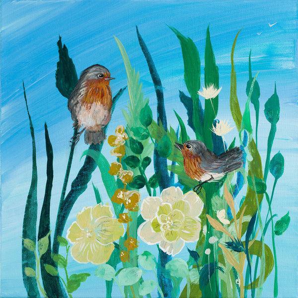 Robin Maria  Awaiting Song II Keilrahmen-Bild Leinwand Vögel Blaumen Natur bunt