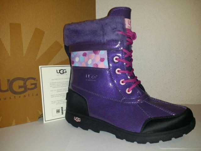 ac1c827ea47 UGG Australia Butte II Girls Waterproof Purple Leather BOOTS Size US 3/eu 33