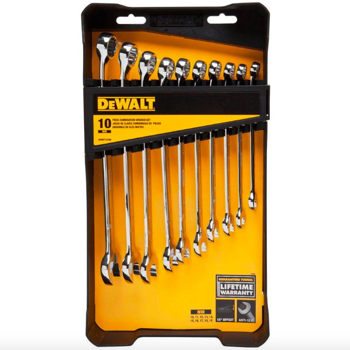 Dewalt Metric Combination Wrench Set 10 Piece Wrenches Hand Tool Open Box End