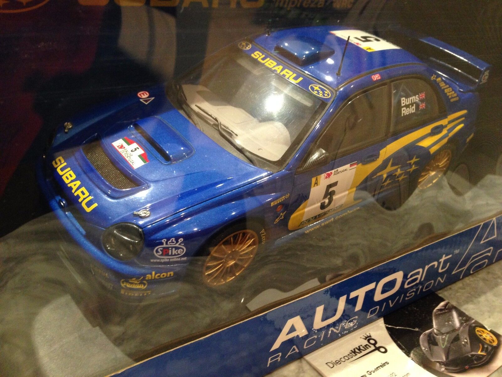 1/18 AUTOART SUBARU STI WRC 2001 BUGEYE BURNS/RIEDS#5 RALLY PORTUGAL USED RARE!!