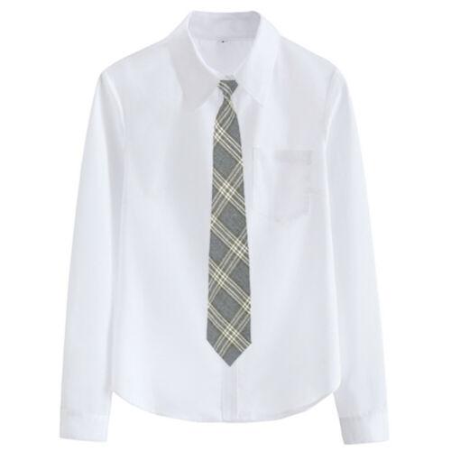 Damen Bluse Hemd Karomuster Krawatte Mädchen Schuluniform Knopf Weiß Top