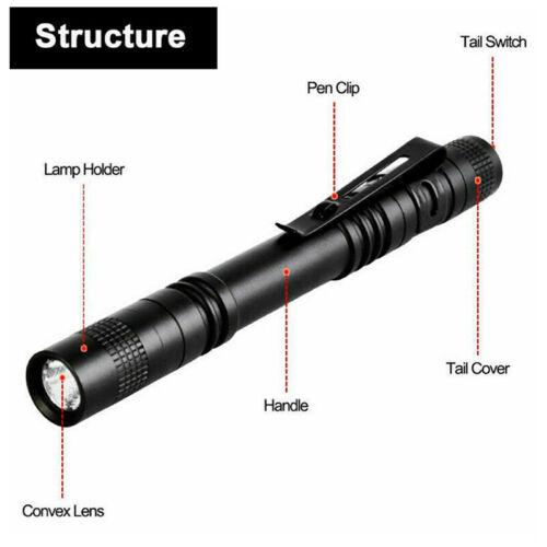 5PCS XPE-R3 LED Flashlight Clip Mini FlashLight Penlight Portable Pen Torch L LU