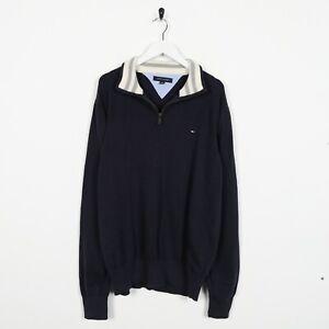 Vintage-Tommy-Hilfiger-Pequeno-Logo-1-4-Cremallera-Jersey-Sudadera-Navy-Azul-EG