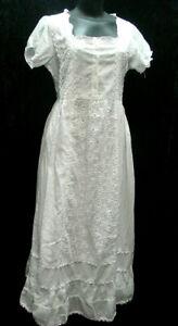 Bohemian boho cotton chemise Edwardian Victorian dress fully lined  sizes S - XL