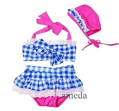 Girls Hot Pink Blue Check Tutu Bikini Swimsuit Swimwear Hat 2pcs Set 1-6Y