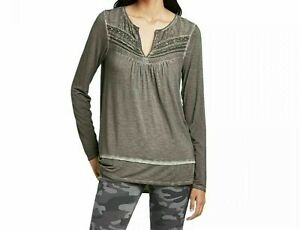 Women-039-s-Long-Sleeve-Oil-Wash-Top-with-Pintucking-Detail-Knox-Rose-Gray