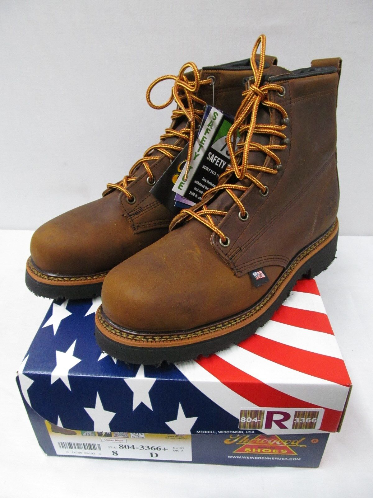 ThGoldgood 6 Inch Plain Steel Toe braun Work Stiefel 804-3366 USA