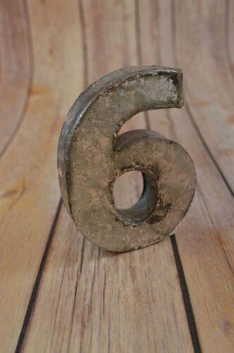 FANTASTIC VINTAGE STYLE SILVER 3D METAL SHOP SIGN NUMBER 6-9 ADVERTISING FONT