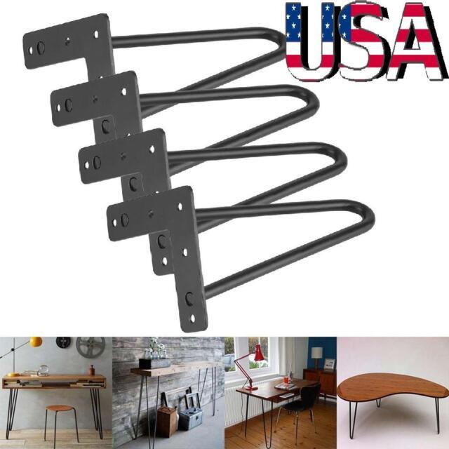 """14/"""" 18/"""" 28/"""" Hairpin Coffee Table Legs Set of 4 DIY Metal Solid Steel 2 Rod Black"""