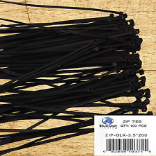 Ships 100 Pack 8 Inch Nylon Zip Black Cable Ties Wire Tie Wraps 40 ...