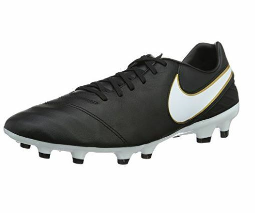 Nike Tiempo Mystic V FG Soccer Cleat Black White-Metallic gold 819236 010