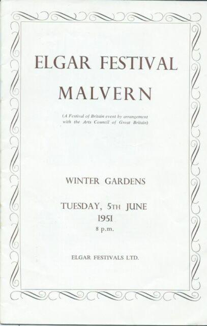 1951 Malvern Elgar Boult Arnold Cooke 1st Julius Harrison Riddle FoB programme
