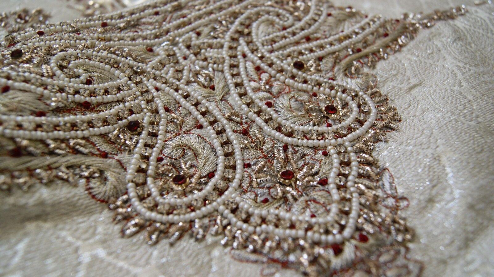 Mens Ivory, Silver & Maroon Asian Indian Pakistani, Wedding Sherwani Jacket - 36