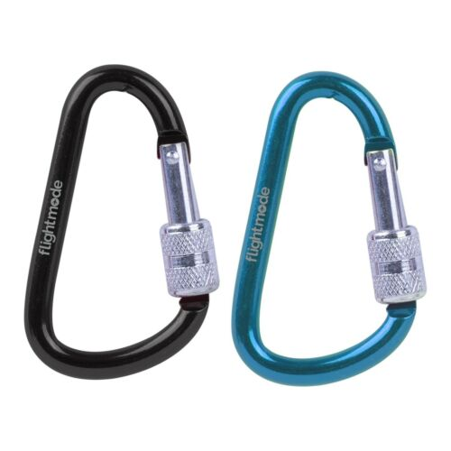 Twin Pack Carabiner Stainless Steel Universal Clip 20kg 66mm Camping Key Outdoor