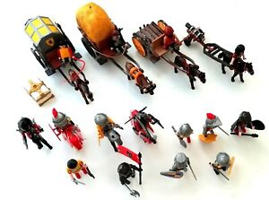 Modern Playmobil Knights Bundle ~ #4874 & 6005 ~ KNIGHTS CARTS HORSES WEAPONS