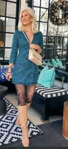 ZARA-SOLD-OUT-BUTTONED-BOUBLE-BREASTED-DRESS-BLUE-GREEN-BLAZER-SIZE-XS