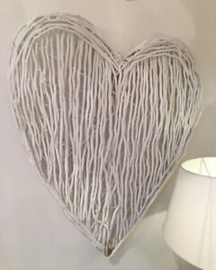 Terrific Details About Large White Willow Heart Wall Hanging Shabby Chic Twig Hearts Home Interior And Landscaping Ponolsignezvosmurscom