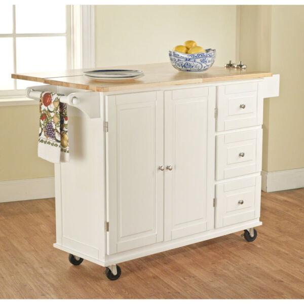 Kitchen Cart With Cabinet: Kitchen Cart Wood Counter Top Leaf Microwave Stand Storage