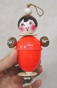 Vintage Crib Toy Plastic Doll Jingle Bell Hands Orange Body