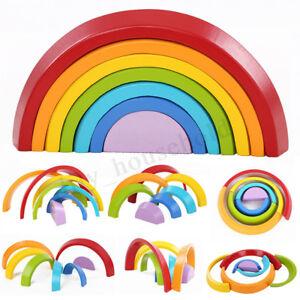 Regenbogen-Holzbausteine-Bausteine-Baby-Kleinkind-Geschenk-Spielzeug