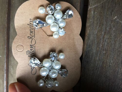 2PC Women Party dance White Pearl leaf Crystal Wedding Bride Hair Bobby U pin