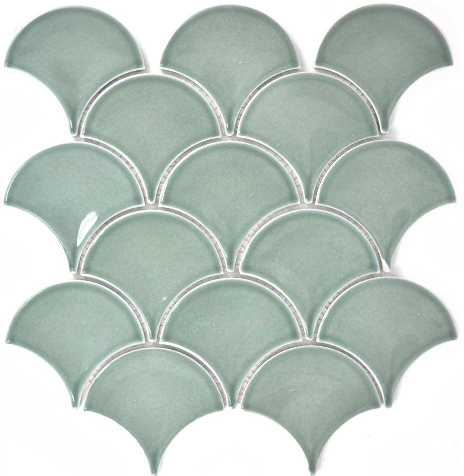 FAN Mosaik Fliese Keramik Fächer petrol glänzend Bad Küche 13-FS18_f  10 Matten