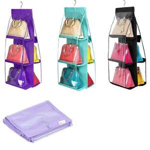 6-Pockets-Foldable-Hanging-Storage-Bag-Purse-Handbag-Tote-Bag-Storage-Organizer