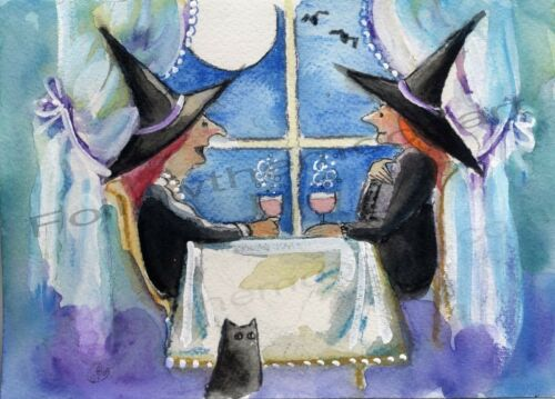 Let/'s Talk Witch Friends Halloween Black Cat Full Moon Bats Wall Art Print