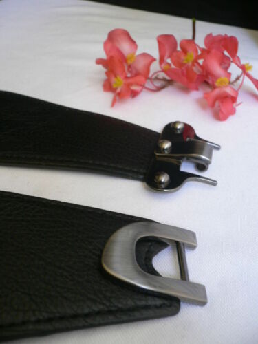 Women Belt Fashion Waist Hip Elastic Black Band Pewter Metal Hook Buckle S M