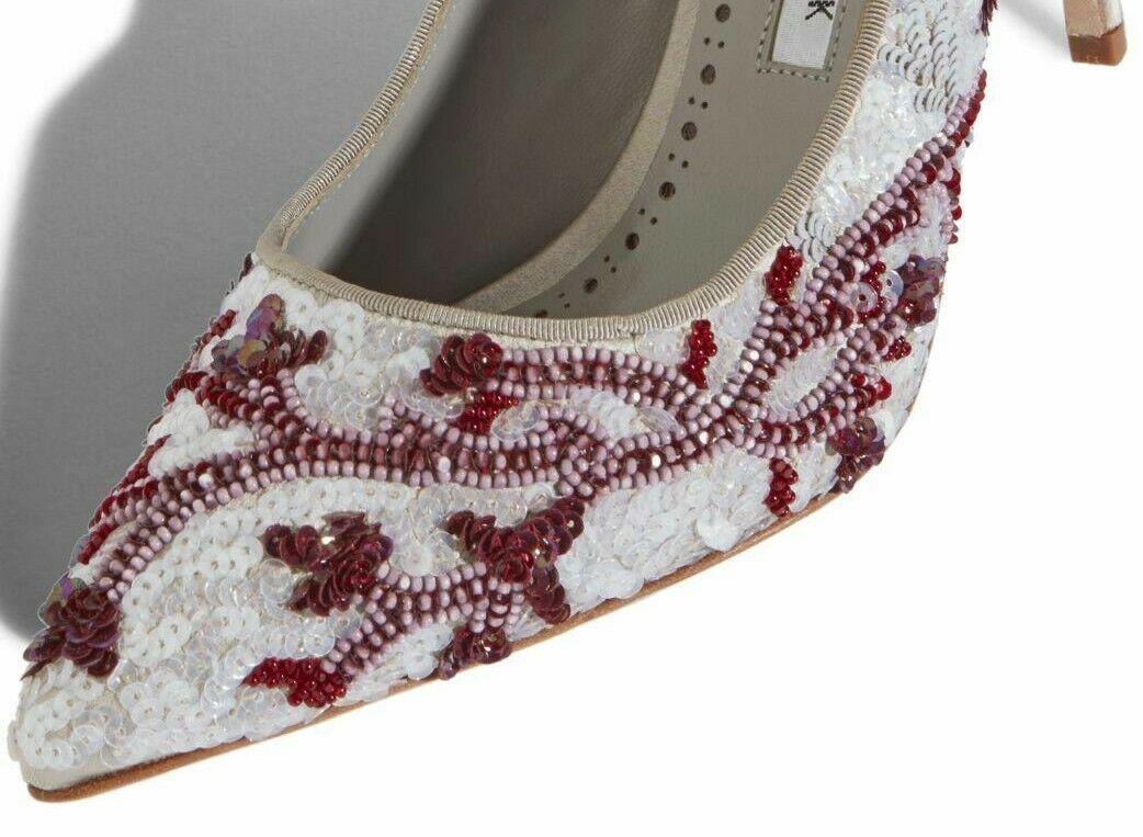 1395 New Manolo Blahnik BB CORAL Satin Heels Sequins  grigio scarpe 40.5 41 41.5  alta qualità genuina