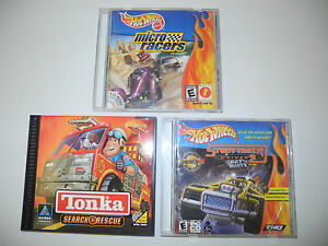 Hot-Wheels-and-Tonka-PC-Game-Lot-of-3-Micro-Racers-Stunt-track-Driver-2-Search