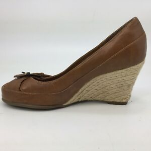 Faux Sandal Aerosoles 8 Pumps Details Brown Toe Size Mary Peep Jane Leather Wedge About drCBoex