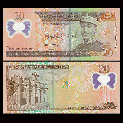 Dominican Republic 20 Pesos 2009 Polymer P-182 Banknotes UNC