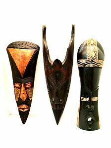 Wooden Tribal Masks Three Hand Crafted in Ghana & Indonesia Vintage ...