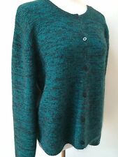 Eileen Fisher Teal Blue Green Black Mohair Wool Soft Cardigan Sweater L/XL