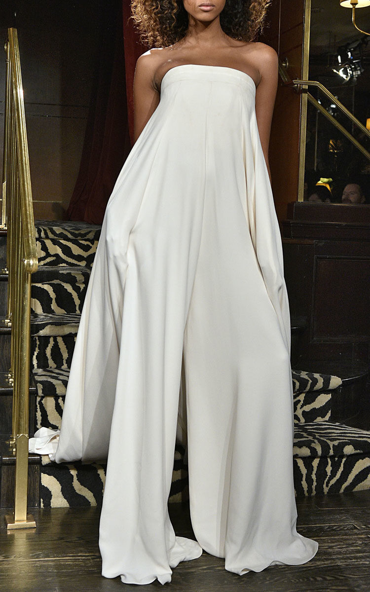Brandon Maxwell Ivory Crepe Jumpsuit Gown Size 8 Runway Piece