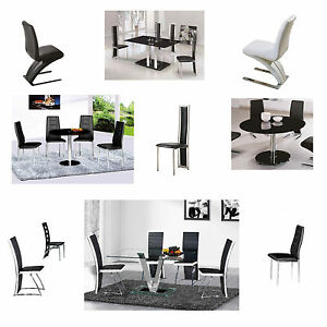 2-Glass-Dining-Tables-and-Metal-Framed-Faux-Leather-Upholstered-Chairs-2-4-6-8