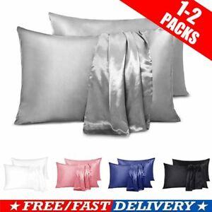 1/2X Satin Silk Pillowcase Pillow Case Cover King Queen Standard Cushion Cover
