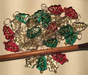 Set of 4 Glass Christmas Tree Stitch Markers fits up to 5mm needles